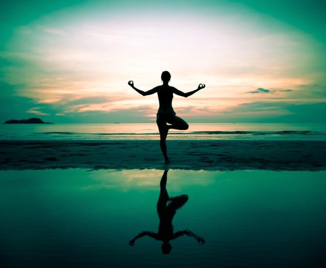 yoga teal on lake